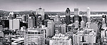 Panoramic view of Downtown Montreal, Montreal Centre-Ville skyline during sunset. Quebec, Canada 2012. Black and white.