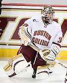 Chris Venti (BC - 30) sported a new mask. - The Boston College Eagles defeated the visiting University of Maine Black Bears 4-0 on Friday, November 19, 2010, at Conte Forum in Chestnut Hill, Massachusetts.