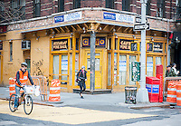 The closed Ciao Caffe wine bar on the corner of Bleecker and MacDougal Streets in Greenwich Village in New York on Sunday, March 30, 2014. (© Richard B. Levine)