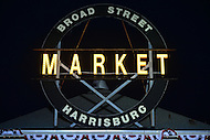 Harrisburg, PA - July 29, 2016: The sign above the Broad Street Market in Harrisburg, PA, during a campaign stop on the Clinton/Kaine bus tour July 29, 2016.  (Photo by Don Baxter/Media Images International)