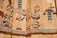 Bas Releif sculptures with scenes from the Bible on the outside of the 10th century Armenian Orthodox Cathedral of the Holy Cross on Akdamar Island, Lake Van Turkey 17b