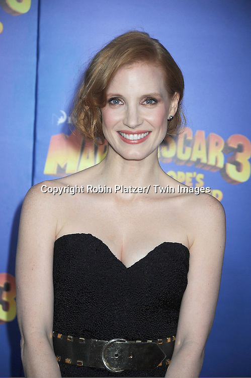 "Jessica Chastain attends the ""Madagascar 3:  Europe's Most Wanted""  New York Premiere on June 7, 2012 at The Ziegfeld Theatre in New York City."