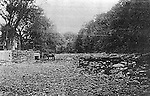 A copy of a glassplate negative from the lawyers--this picture &quot;Looking upstream from bridgeon a dry summer day during the early 1900's&quot; was introduced into evidence by the city of Waterbury. It depicts the dry river bed of the Shepaug River in 1906 before the city built its dam upstream. <br />
