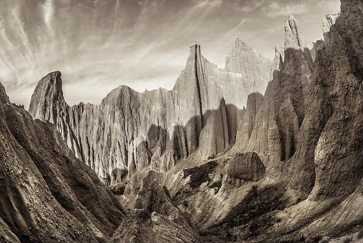 The Clay Cliffs near Omarama are spectacular close up, South Canterbury, New Zealand