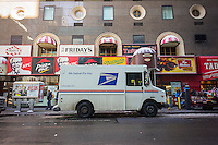 A USPS vehicle parked in New York on Friday, March 6, 2015. The USPS announced it will replace its aging fleet of Grumman Long Life Vehicle trucks in a purchase worth $6.3 billion. The mail service has asked manufacturers for proposals on the replacement vehicles. The current fleet is thirty years old.(© Richard B. Levine)
