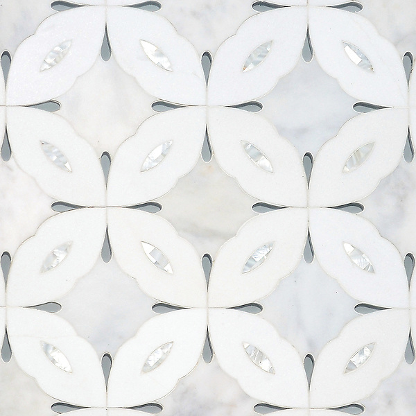 Sebastian large, a waterjet stone and Serenity glass mosaic, shown in honed Carrara, Shell, and Island Fog glass.