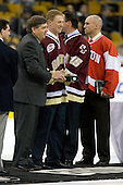 Joe Bertagna, Greg Brown, Craig Janney, Shawn McEachern (UMass-Lowell - Assistant Coach) - The University of Massachusetts-Lowell River Hawks defeated the Northeastern University Huskies 3-2 (OT) in their Hockey East Semi-Final match on Friday, March 20, 2009, at the TD BankNorth Garden in Boston, Massachusetts.