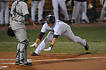 Ole Miss' Matt Smith (16) scores on Matt Snyder's double against Tulane at Oxford-University Stadium in Oxford, Miss. on Friday, March 4, 2010.