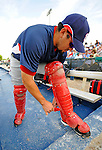 12 March 2008: Washington Nationals' catcher Humberto Cota dons his protective catching gear prior to a Spring Training game against the Los Angeles Dodgers at Holman Stadium, in Vero Beach, Florida. The Nationals defeated the Dodgers 10-4 at the historic Dodgertown ballpark. 2008 marks the final season of Spring Training at Dodgertown for the Dodgers, as the team will move to new training facilities in Arizona starting in 2009 after 60 years in Florida...Mandatory Photo Credit: Ed Wolfstein Photo