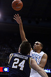 05 January 2015: North Carolina's Brice Johnson (11) shoots over Notre Dame's Pat Connaughton (24). The University of North Carolina Tar Heels played the University of Notre Dame Fighting Irish in an NCAA Division I Men's basketball game at the Dean E. Smith Center in Chapel Hill, North Carolina. Notre Dame won the game 71-70.