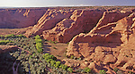 Looking on one of the branches of the Canyon de Chelly from the rim of the canyon above