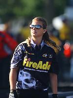 Jun 10, 2016; Englishtown, NJ, USA; Crew member for NHRA top fuel driver Leah Pritchett during qualifying for the Summernationals at Old Bridge Township Raceway Park. Mandatory Credit: Mark J. Rebilas-USA TODAY Sports