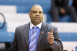 23 March 2014: Hampton head coach David Six. The Michigan State University Spartans played the Hampton University Lady Pirates in an NCAA Division I Women's Basketball Tournament First Round game at Cameron Indoor Stadium in Durham, North Carolina. Michigan State won the game 91-61.