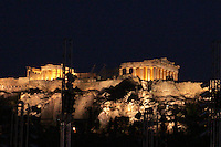 """August 26, 2004; Athens, Greece; Image is of the Acropolis of Athens with spotlighting during the 2004 Athens Olympics. The Acropolis hill, so called the """"Sacred Rock"""" of Athens.  The first habitation remains on the Acropolis date from the Neolithic period..(©) Copyright 2004 Tom Theobald"""