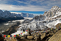 The spectacular view from the summit of Gokyo Ri in the Khumbu region of Nepal. The peak is a popular day hike from the small town of Gokyo the sits at its base on the west side of the Ngozumpa Glacier.