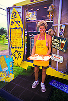 """The yellow """"""""Shrimp Shack"""""""" is a favorite food stop for both locals and tourists. Located near the town of Punaluu on Oahu's windward coast."""