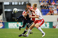 Ben Zemanski (21) of Chivas USA is marked by Tim Ream (5) of the New York Red Bulls. The New York Red Bulls defeated Chivas USA 1-0 during a Major League Soccer (MLS) match at Red Bull Arena in Harrison, NJ, on June 5, 2010.