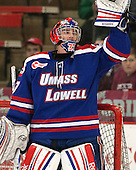 Connor Hellebuyck (UML - 37) - The visiting University of Massachusetts Lowell River Hawks defeated the Harvard University Crimson 5-0 on Monday, December 10, 2012, at Bright Hockey Center in Cambridge, Massachusetts.