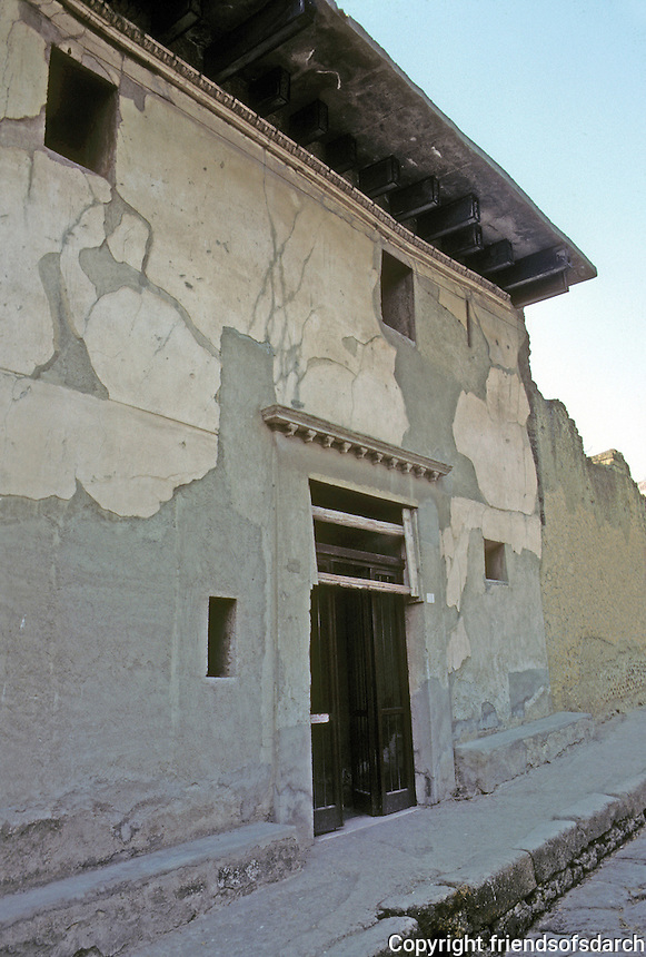 Italy: Herculaneum--House of wooden construction, facade. Remarkable well-preserved. Photo '83.