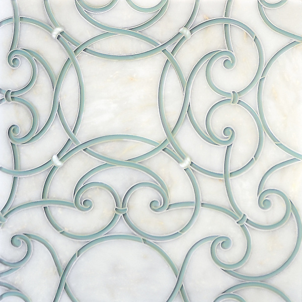 Abigail, a handmade mosaic shown in honed Afyon White, Infinity glass and Shell. Designed by Sara Baldwin Designs for New Ravenna.<br /> <br />  https://www.pinterest.com/newravenna/a-b-i-g-a-i-l/<br /> <br /> For pricing samples and design help, click here: http://www.newravenna.com/showrooms/