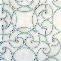 Abigail, a handmade mosaic shown in honed Afyon White, Infinity glass and Shell. Designed by Sara Baldwin Designs for New Ravenna.<br />