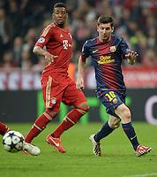 FUSSBALL  CHAMPIONS LEAGUE  HALBFINALE  HINSPIEL  2012/2013      FC Bayern Muenchen - FC Barcelona      23.04.2013 Arjen Robben (re, FC Bayern Muenchen) gegen Jerome Boateng (li, FC Bayern Muenchen)
