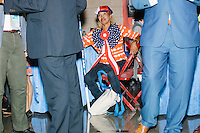 Shirley Gavin Floyd wears patriotic clothing while taking a break from activities on the final day of the Democratic National Convention at the Wells Fargo Arena in Philadelphia, Pennsylvania, on Thurs., July 28, 2016.