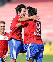 FUSSBALL   DFB POKAL   SAISON 2011/2012  1. Hauptrunde SpVgg Unterhaching - SC Freiburg             31.07.2011 Jonas Hummels, Mijo Tunjic (v. li., Unterhaching)