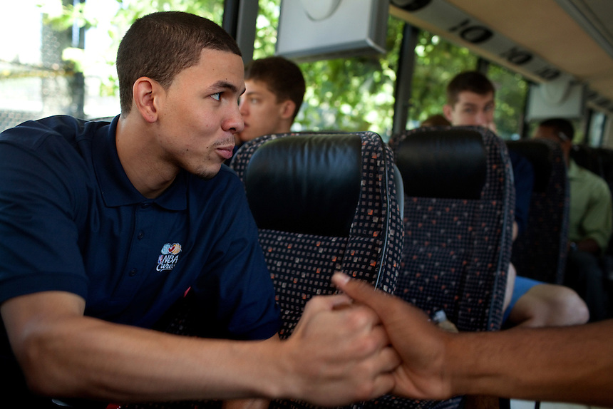 {June 27, 2012} {4:00pm} -- New York, NY, U.S.A.Duke basketball star Austin Rivers with Andre Drummond on the bus heading to the Dunlevy Milbank Boys & Girls Club in Harlem before the NBA draft Thursday in Manhattan, New York on June 27, 2012. .