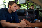 {June 27, 2012} {4:00pm} -- New York, NY, U.S.A.Duke basketball star Austin Rivers with Andre Drummond on the bus heading to the Dunlevy Milbank Boys &amp; Girls Club in Harlem before the NBA draft Thursday in Manhattan, New York on June 27, 2012. .