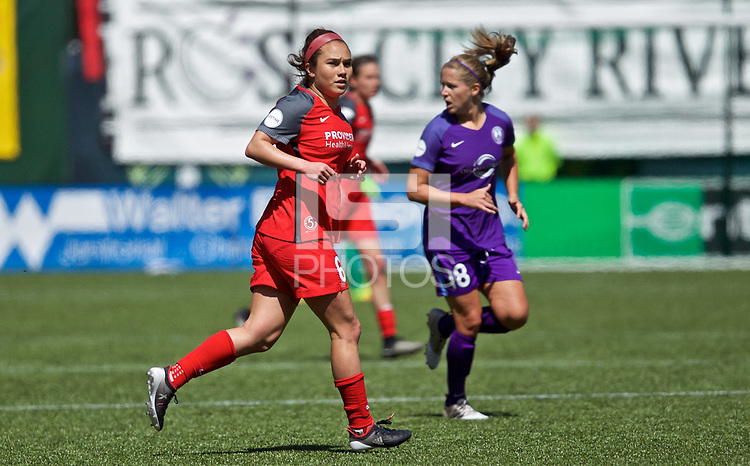 Portland, OR - Saturday April 15, 2017: Meleana Shim during a regular season National Women's Soccer League (NWSL) match between the Portland Thorns FC and the Orlando Pride at Providence Park.
