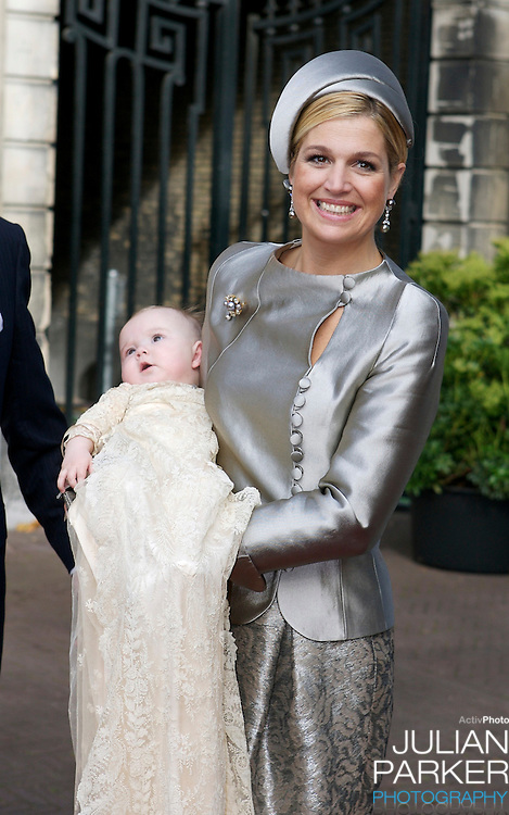 Crown Princess Maxima of Holland attends her daughter Princess Ariane's Christening at The Kloosterkerk in The Hauge, Holland.
