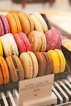 Close-up of macarons at Angelina, Rivoli Street, Rue de Rivoli, Paris, France, Europe