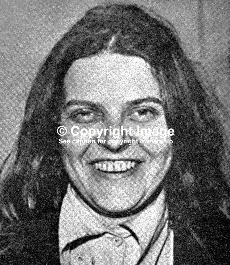 Bridget Rose Dugdale, English, former debutante who rebelled against her wealthy background and became a volunteer in the Provisional IRA.  As well as being wanted by the security forces in N Ireland she was also sought by police in the Rep of Ireland in connection with a major art theft. 197405000114RD2.<br />