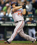 Baltimore Orioles Ty Wiggington hits a homerun against the Seattle Mariners at SAFECO Field in Seattle April 19, 2010. The  Mariners beat the Orioles 8-2. Jim Bryant Photo. &copy;2010. ALL RIGHTS RESERVED.