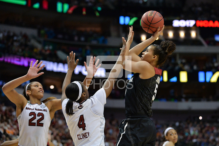 Dallas, TX - Friday March 31, 2017: Kaylee Johnson during the NCAA National Semifinal Game between the women's basketball teams of Stanford and South Carolina at the American Airlines Center.