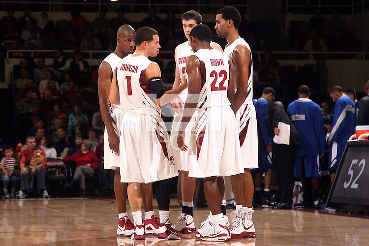 Stanford, CA - NOVEMBER 26:  Guard Jeremy Green #5, guard Mitch Johnson #1, forward Jack Trotter #50, guard Kenny Brown #22, and forward Lawrence Hill #15 of the Stanford Cardinal during Stanford's 76-57 win against the Air Force Academy Falcons on November 26, 2008 at Maples Pavilion in Stanford, California.