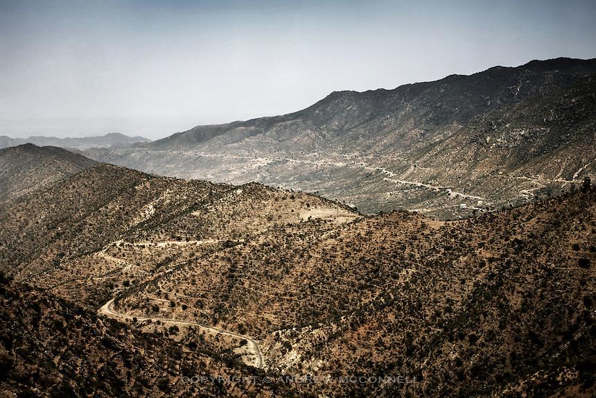 The mountainous landscape on the road between Asmara and Massawa, Eritrea..