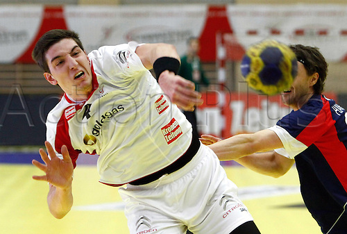 05.01.2012 Tulln, Austria. Handball IHF World Cup 2013 Qualification men Country game Austria vs UK Picture shows Maximilian Hermann AUT