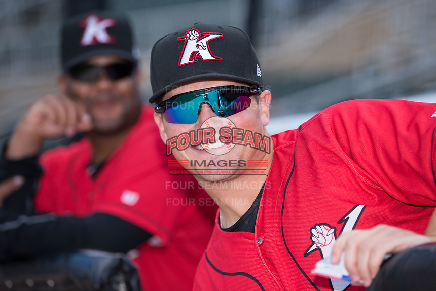 Kannapolis Intimidators manager Justin Jirschele (9) is all smiles prior to the game against the Asheville Tourists at Kannapolis Intimidators Stadium on May 7, 2017 in Kannapolis, North Carolina.  The Tourists defeated the Intimidators 4-1.  (Brian Westerholt/Four Seam Images)