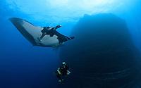 QT2377-D. Manta Ray (Manta birostris) swims above scuba diver at famous dive site, &quot;The Boiler&quot;, off San Benedicto Island in the Socorro Islands. Baja, Mexico, Pacific Ocean.<br /> Photo Copyright &copy; Brandon Cole. All rights reserved worldwide.  www.brandoncole.com
