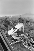 Preparing a bonfire for St George's Day in Carn Brae, Cornwall.