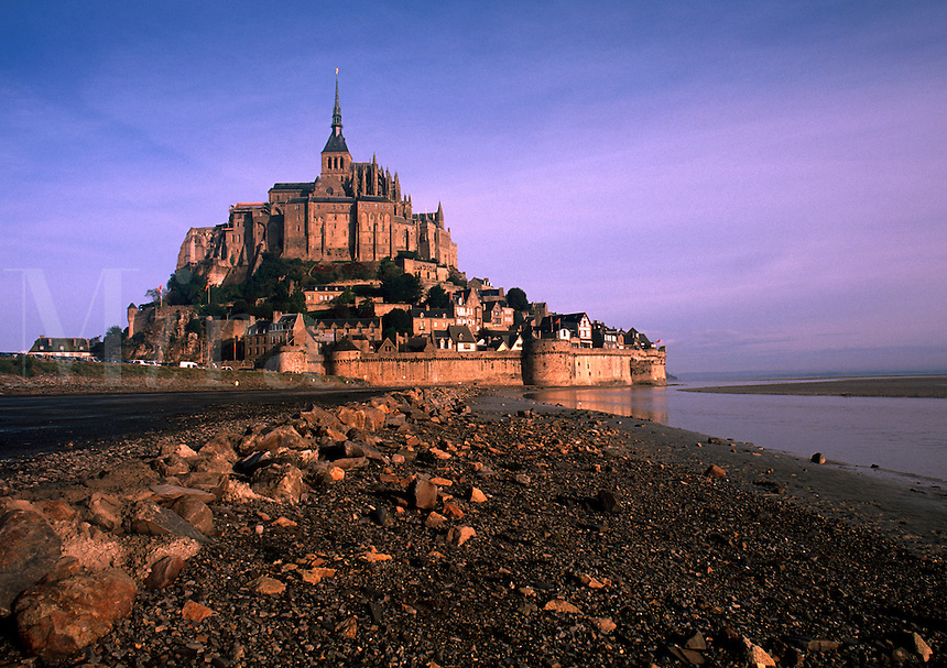 Twilight landscape of Le Mont St. Michel Fortress. Normandy, France.