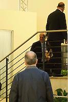 Roma  23 Aprile 2013.Si riunusce  la direzione nazionale del Partito Democratico. Pier Luigi Bersani all'arrivo  nella sede del PD
