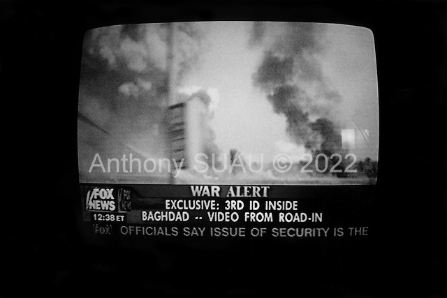 USA.April 2003..TV images of the US bombing of Baghdad.