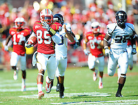 Torrey Smith of the Terrapins breaks free for touchdown. Maryland defeated FIU 42-28 during a game at Capital One Field at Byrd Stadium in College Park, MD on Saturday, September 25, 2010. Alan P. Santos/DC Sports Box