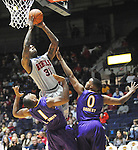 "Mississippi's Murphy Holloway (31) is fouled by Lipscomb's Khion Sankey (0) as Lipscomb's Malcolm Smith (1) also defends in the first half at the CM. ""Tad"" Smith Coliseum in Oxford, Miss. on Friday, November 23, 2012. (AP Photo/Oxford Eagle, Bruce Newman)"