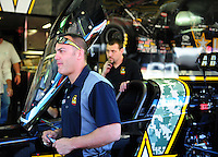 Jan. 21, 2012; Jupiter, FL, USA: Aerial view of NHRA funny car driver XXXX during testing at the PRO Winter Warmup at Palm Beach International Raceway. Mandatory Credit: Mark J. Rebilas-