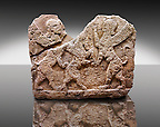 Picture of a Neo-Hittite orthostat describing the legend of Gilgamesh from Karkamis, Turkey. Ancora Archaeological Museum. Mythological Scene of 2 Spinxes standing on their back legs either side of a winged horse which is also standing on its rear legs. 1