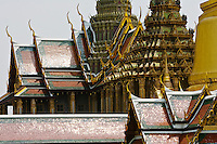 Roofs of the Prasat Phra Thep Bidon and Phra Mondhop, Bangkok, Thailand